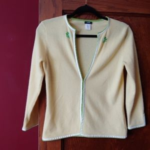 J.Crew yellow flower/cashmere wool blend cardigan